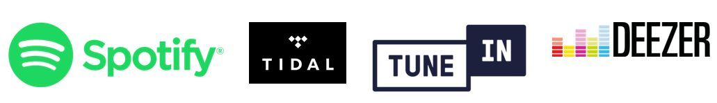 Logo serwisów muzycznych z którymi współpracuje Kbsound Star