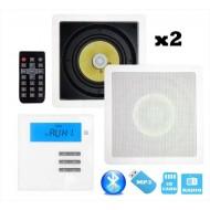 """P2 RADIO POD ZABUDOWĘ Z BLUETOOTH / USB/ SD CARD STEREO  + GŁOŚNIKI 6,5"""" KWADRAT"""