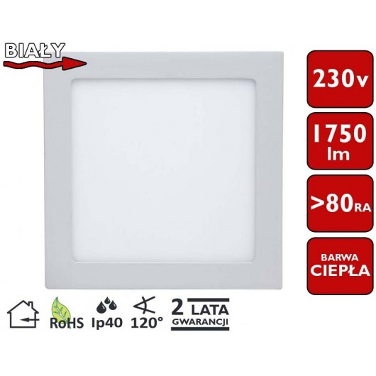 SONDELED PANEL SUFITOWY LED KWADRAT 22,5x22,5cm 20W 1750lm